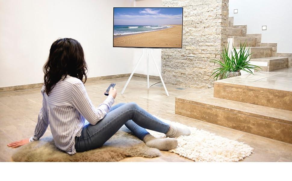 Hama Tv Ständer Im Staffelei Design Stabiler Fernsehständer Für 37 75 Zoll Höhenverstellbarer Tv Stand Als Tripod Kompaktes Tv Stativ Vesa Kompatibler Bodenständer Weiß Heimkino Tv Video