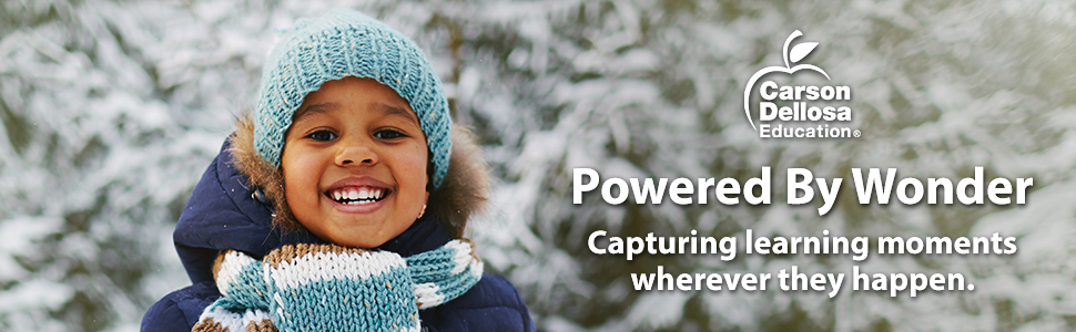Young girl outside playing in snow. Carson Dellosa Capturing learning moments wherever they happen