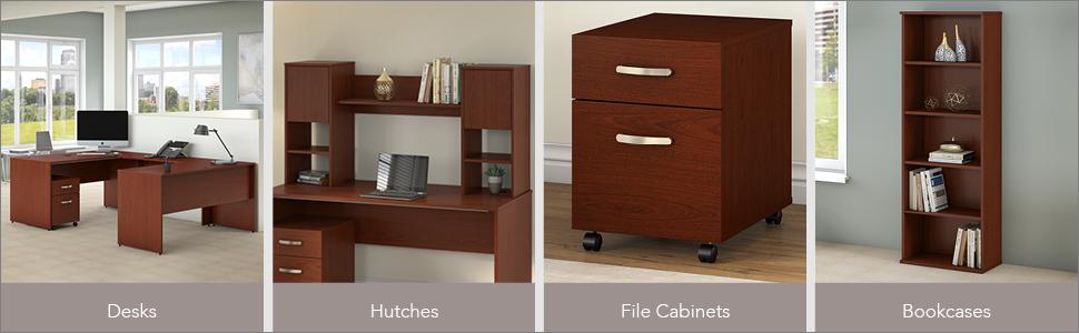 bush business furniture,commerce,cherry desk,office desk,exclusive desk,executive desk,files,storage