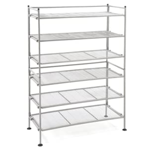 seville classics shoe heels storage utility rack cheap metal mesh silver gray display shelf