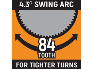 84-tooth ratchets provide 4.3° swing arc infographic