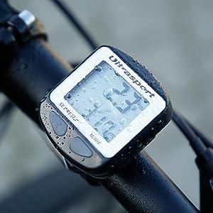 Ultrasport Ciclocomputador con Cable Resistente al Agua y fácil de Montar, el cuentakilómetros Mide la Velocidad, la Distancia, Las calorías, el ...