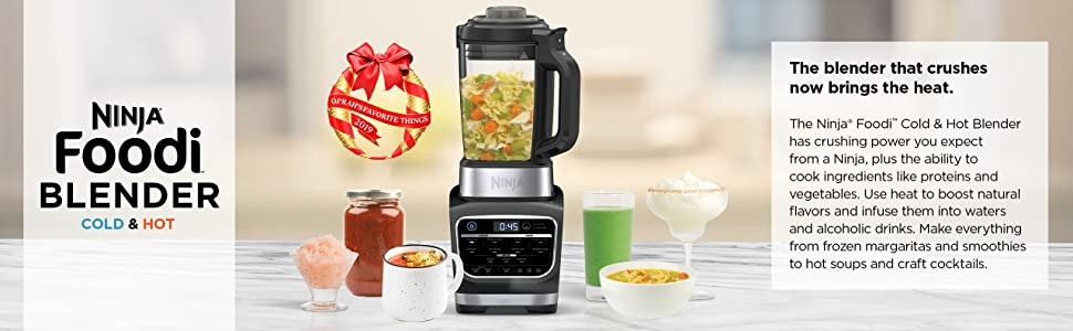 Ninja Foodi Cold & Hot Cook Hot Soups, Sauces and Dips Blender with 1400 Peak Watts to Crush Frozen Drinks & Smoothies Nonstick Glass Pitcher (HB152), ...