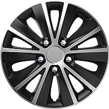 14 inches Set of 4 Unitec 75567 Daytona Wheel Trims Black // Silver