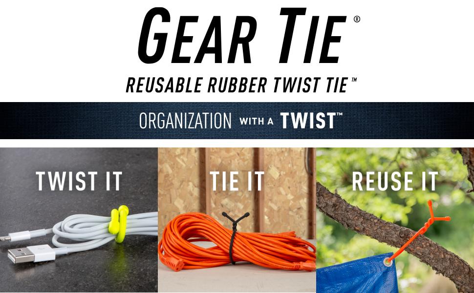 Gear Tie Original reusable rubber twist tie twist tie reuse