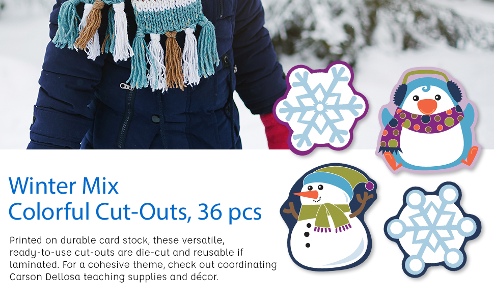 winter mix colorful cut-outs