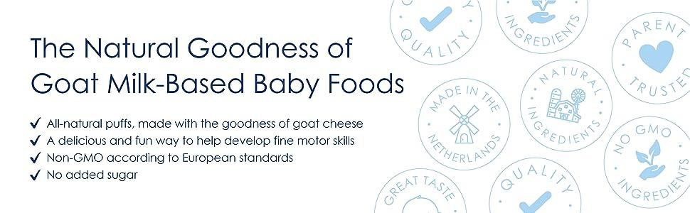 goat cheese, milk alternative, snack puffs