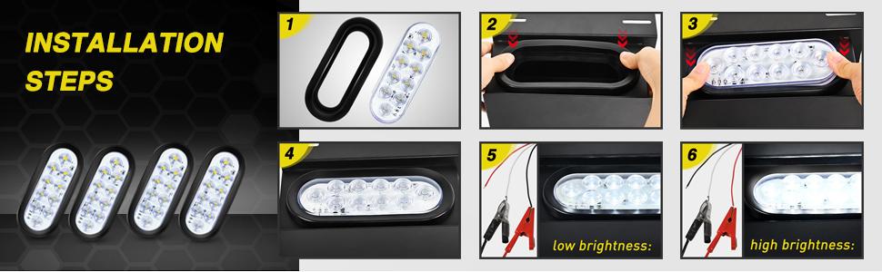 "4"" round trailer tail light, 4"" round led reverse light, 4"" round led back up light"