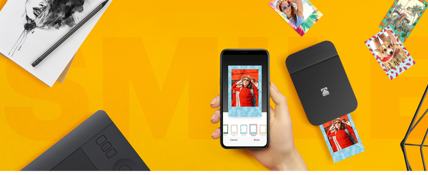 Kodak Smile Printer smartphone app borders photos