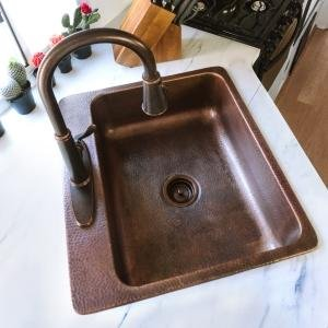 nature of copper, kitchen sink, bath sink, cleaning and care, patina, living finish