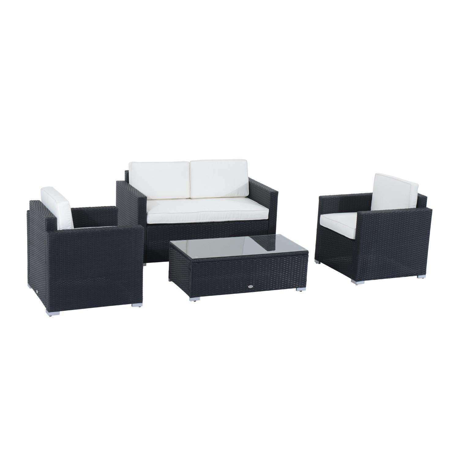 Amazoncom Outsunny 4 Piece Cushioned Outdoor Rattan Wicker Sofa Sectional Patio Furniture Set