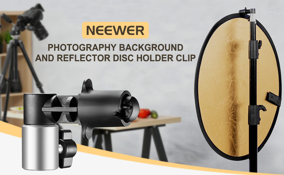 Portable Studio Photography Background And Reflector Disc Holder Clip  SL
