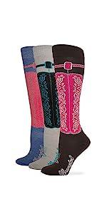 Wrangler Women's Ladies Wild West Boot Socks 3 Pair Pack