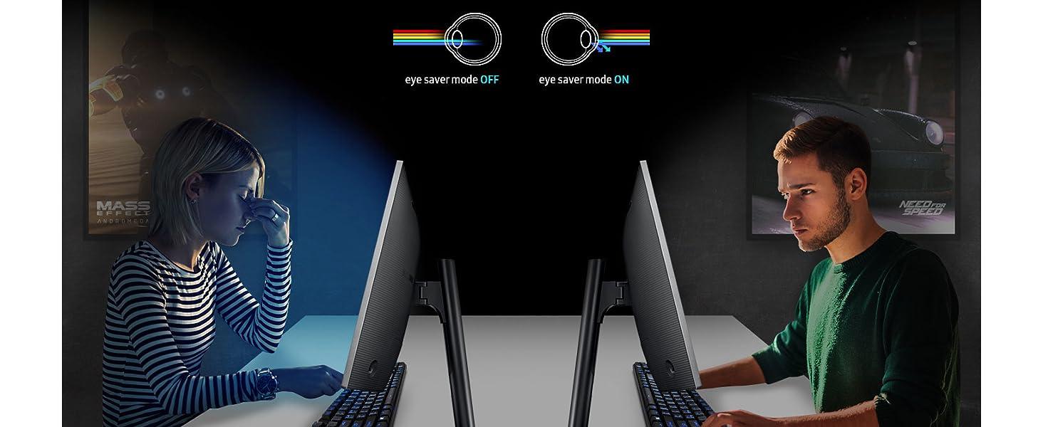 Eye saver mode on vs. off