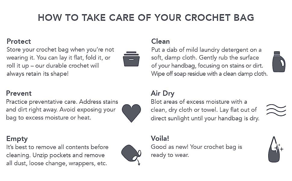 Crochet, Clean, Care, Bags