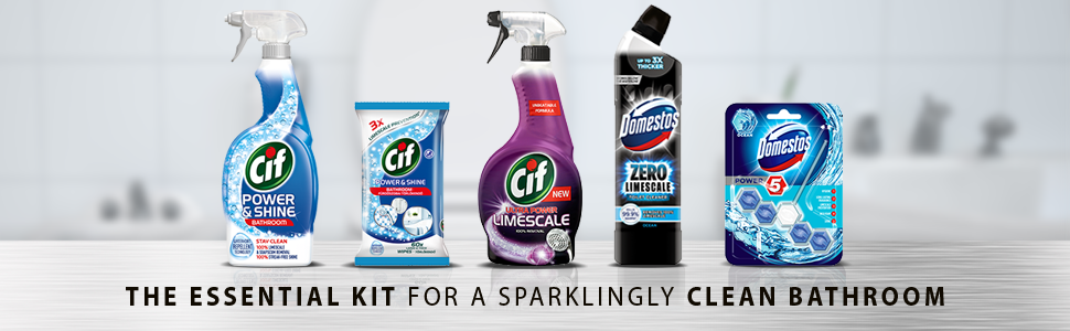cif domestos bathroom cleaning kit power shine spray wipes limescale remover toilet cleaner block