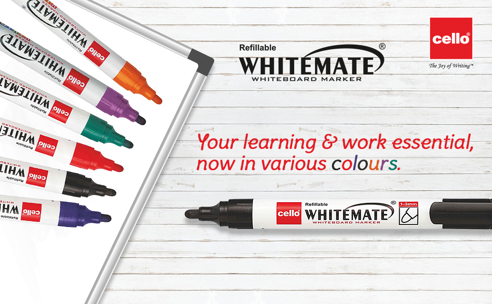 Cello | Cello Whitemate Whiteboard Markers - Set of 6 | School & Office Stationery | Work from Home