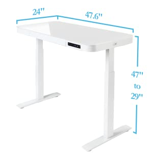 watch 1cae0 2974d Seville Classics OFF65873 Airlift Tempered Glass Electric Standing Desk  with Drawer, 2.4A USB Ports, 3 Memory Buttons (Max. Height 47
