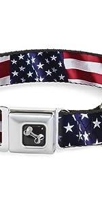 Flag America American United States Stars Stripes Vivid Vintage US Collar Dog Pet Seatbelt