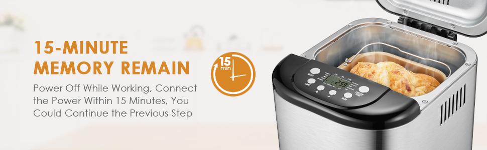 Aicok Panificadora, Máquina programable para hacer pan, Completamente Automática, 500-1000g, Máquina de Pan con Cubierta de Acero Inoxidable, 15 Horas ...
