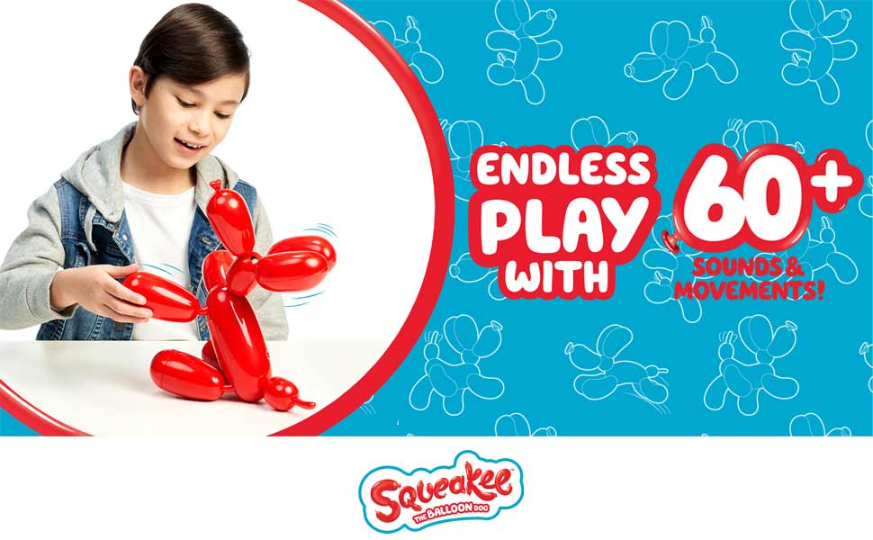 Squeakee Balloon Dog - Boy playing with Squeakee