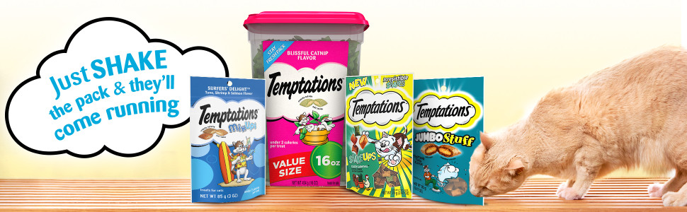 Just Shake the Pack, They'll come Running, Temptations Classics, Resealable Tub, Pouch, Bag