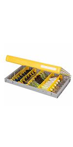 Plano bladed jig box, plano jig organizer, plano master bladed jig tackle box, rustrictor