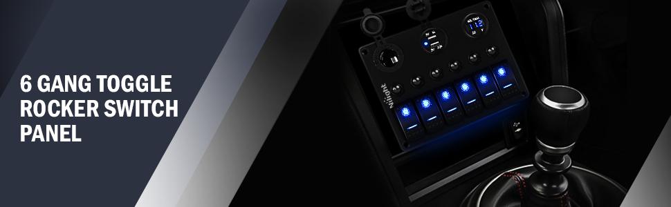 6 gang toggle rocker switch panel