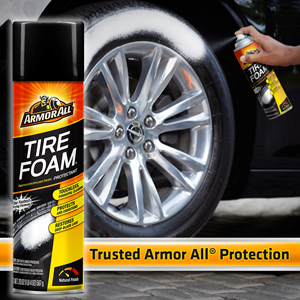 Armor All Tire Foam, Tire Shine Protectant, Touchless Powerful cleaning for tires, medium gloss