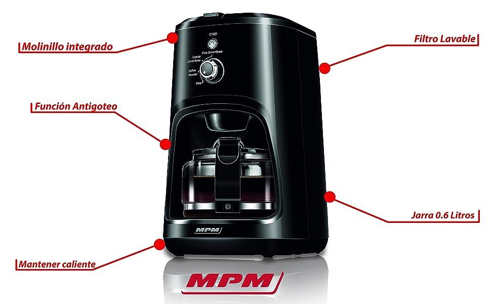 MPM MKW-04 Cafetera de goteo con Molinillo de café integrado ...