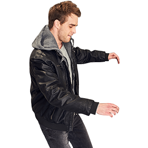 Wantdo Men's Faux Leather Jacket With Removable Hood at