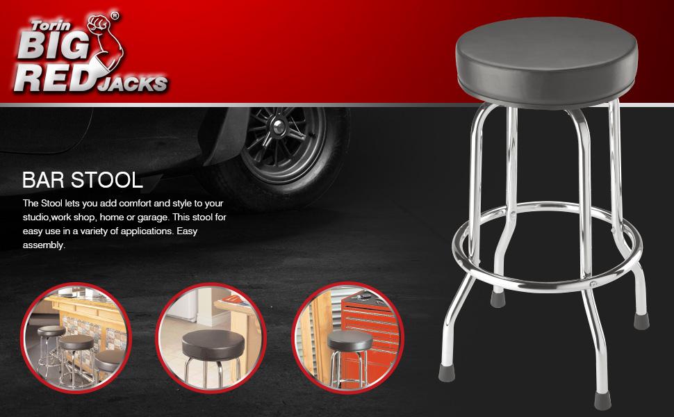 Torin Big Red Swivel Bar Stool: Padded Garage/Shop Seat
