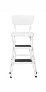 Amazon Com Cosco White Retro Counter Chair Step Stool