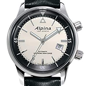 Alpina Seastrong Heritage Swiss Diver Watch, Black Leather Strap