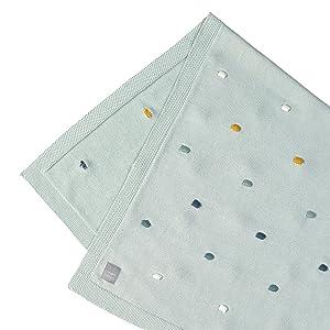 L/ÄSSIG Baby Strickkissen rund Bio-Baumwolle Dots light mint 25x6x25 cm