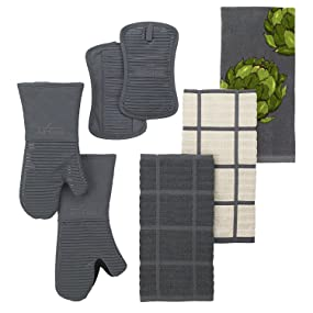 Black 14 x 6.5 Inches Made of Silicone Treated Heavyweight 100-Percent Cotton Twill All Clad Textiles Deluxe Heat and Stain Resistant Oven Mitt Machine Washable