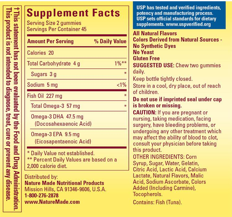 Nature Made Fish Oil Nutrition Facts