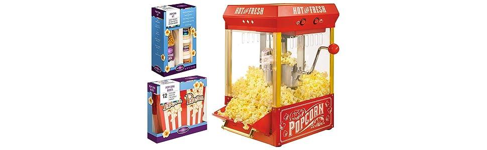 Nostalgia KPM200BUN Tabletop Popcorn Bonus Bundle