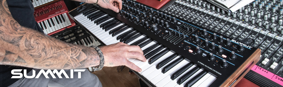 Novation's flagship two-part 16-voice 61-key polyphonic synthesiser.