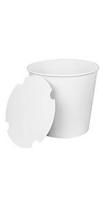 Karat  170 oz White  Food Buckets With Paper Lids