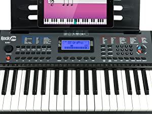 Piano RockJam con teclado de 61 teclas con inflexión de tono, fuente de alimentación, soporte para partituras, pegatinas para notas de piano y ...
