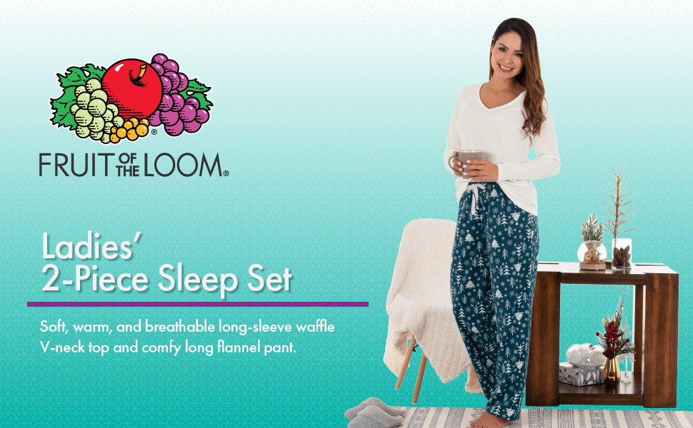 Fruit of the Loom Womens Waffle V-Neck Top and Flannel Pant Sleep Set
