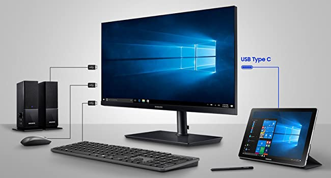 USB Type C connecting the monitor to a laptop