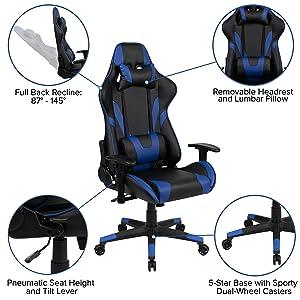 BlackArc Black Gaming Desk and Blue/Black Reclining Gaming Chair Set