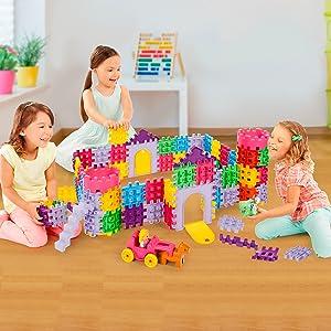 little tikes, waffle blocks, castle blocks, build a castle, building block bag, on-the-go blocks