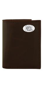 Wrinkle brown leather tri-fold wallet