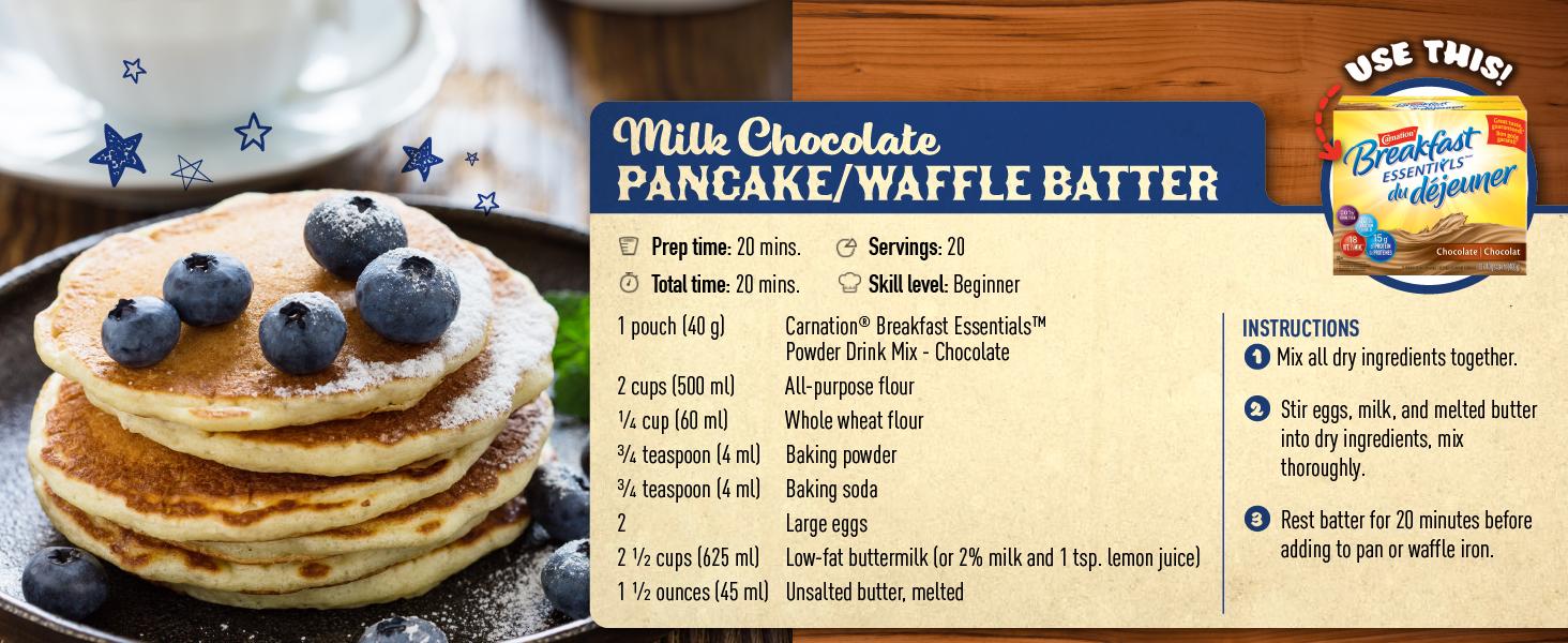 milk chocolate pancake waffle batter carnation breakfast essentials