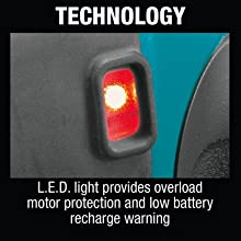 technology LED light provides overload motor protection low battery recharge warning indicator