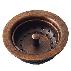 basket strainer drain, disposal drain, copper, kitchen sink