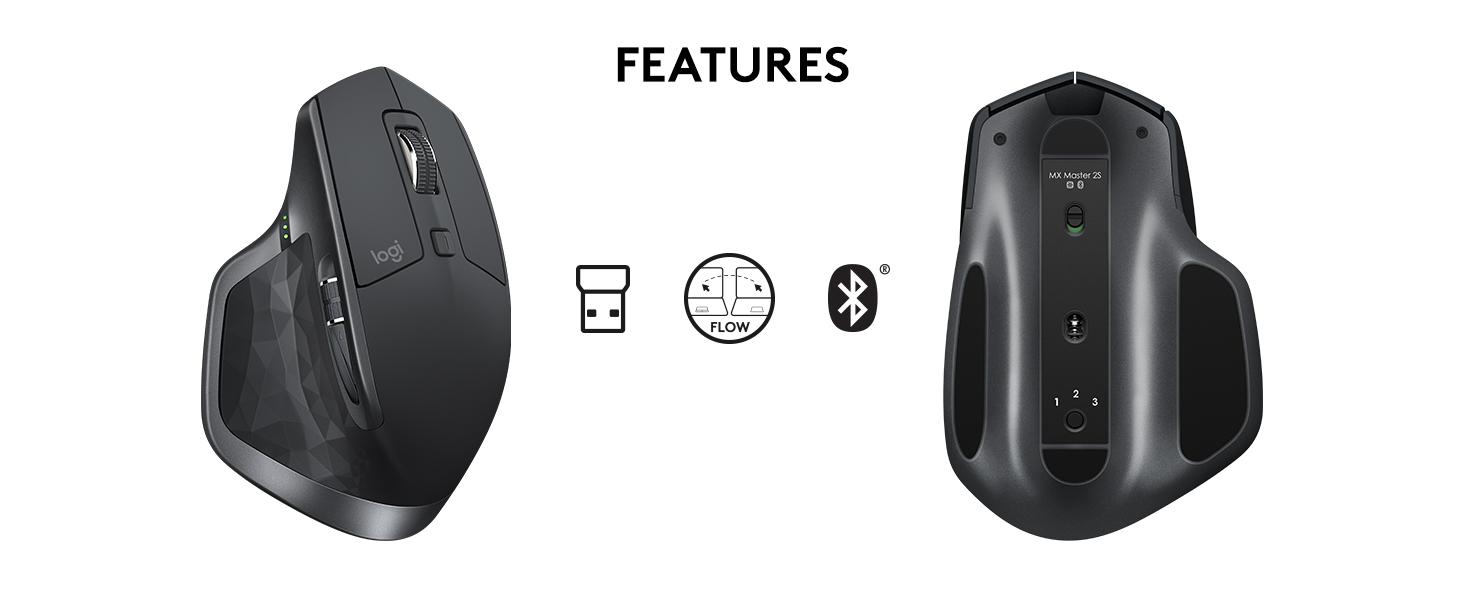 Logitech MX Master 2S Wireless Mouse – Use on Any Surface, Hyper-Fast  Scrolling, Ergonomic Shape, Rechargeable, Control up to 3 Apple Mac and  Windows